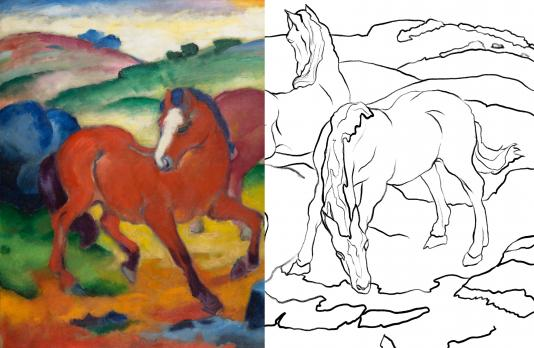 Half of a painting depicting three horses grazing and a line drawing of the other half of the painting.